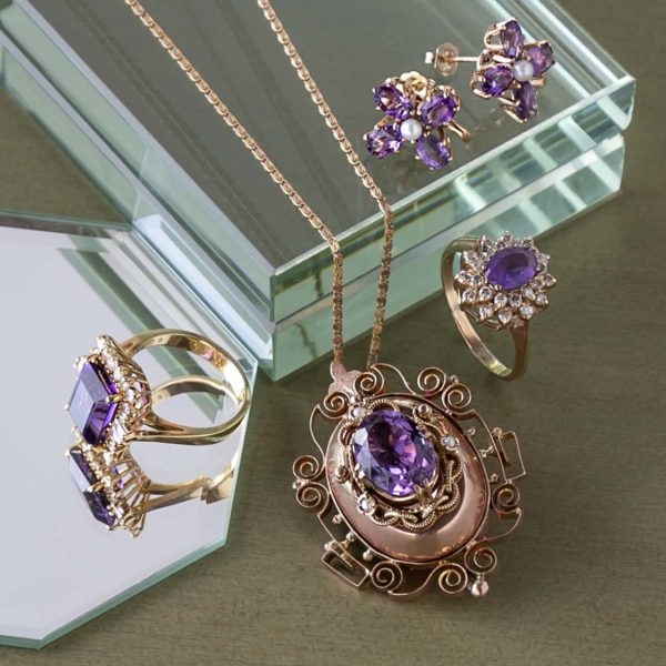 Amethyst Necklace, Rings, and Earrings -1