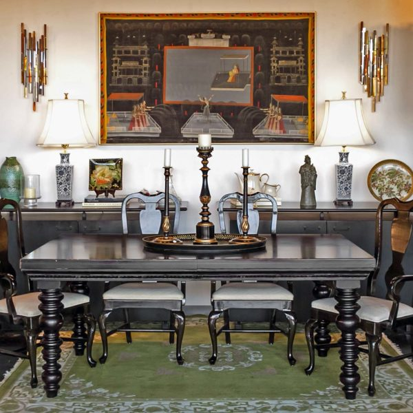 Asian Style Dining Room with Black Table and Chairs -1