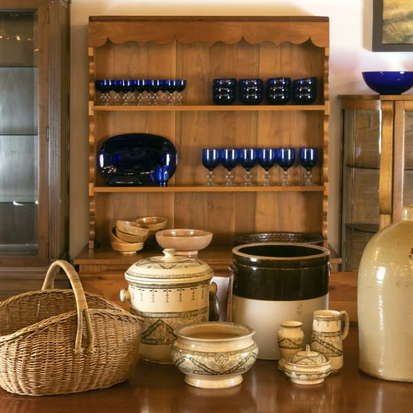 Farmhouse Style Pots with Blue Glass on Hutch -1