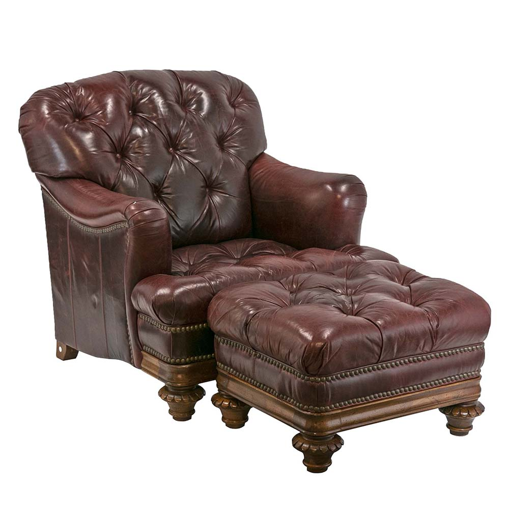 Thomasville Leather Armchair and Ottoman sold for $1,895